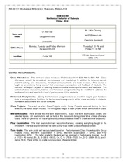 MEM333 course info sheets, Winter 2014