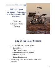 Lecture 12 — Life in the Solar System (white background)