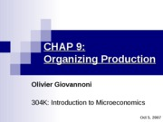 CHAP 9 - Organizing production