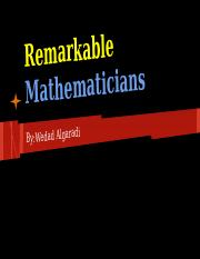 Remarkable Mathematicians