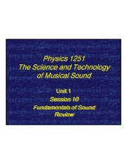 The Sciene and Technology of Music Sound - Fundamentals of Sound