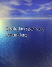 Classification Systems and Nomenclatures (1)