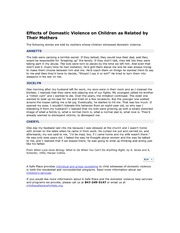 Effects of Domestic Violence on Children as Related by Their