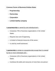 Common Forms of Business Entities Notes