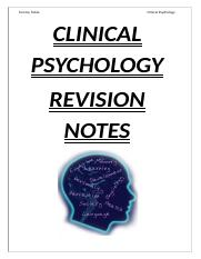 Clinical Psychology Revision