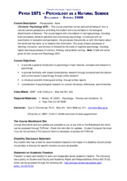 Syllabus - Psych 1071 Psychology as a Natural Science - Zimmerman - Sp08