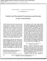 Family and Household Formations and Suicide in the United States