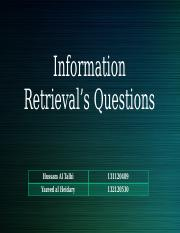 Information Retrieval's Questions (2)