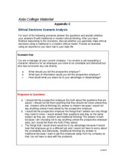 Ethical Decisions Scenario Analysis
