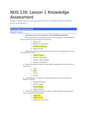 NOS 130-Lesson 1 Knowledge Assessment