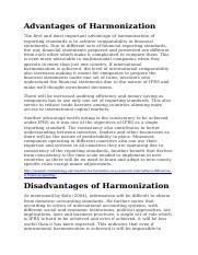 Advantages of Harmonization