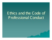 Ethics and the Code of Professional Conduct