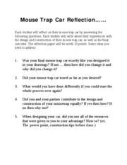 Mouse Trap Car Reflection