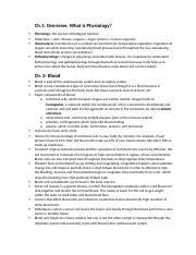 Unit 1 Study Guide Bio-Physiology