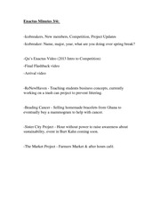 Enactus Minutes March 4 Notes