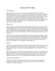 Investment Analyst Amazon versus eBay - 4 Pages (APA Formats with 3 References)