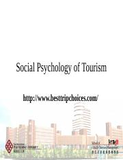 Lecture 4 - Social Psyhcology of Tourism