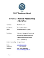 Final Course outline FA MBA-2K11