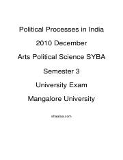 (www.entrance-exam.net)-Arts - Political Science Semester 3- Political Processes in India Sample Pap