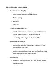 Internet Marketing Research Notes