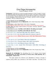 One Page Homeworks