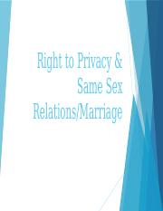Right to Privacy & Same Sex Relations