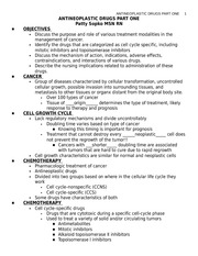 ANTINEOPLASTIC DRUGS PART ONE STUDENT NOTES - BLANKS
