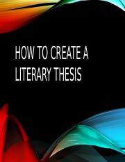 How to create a literary thesis