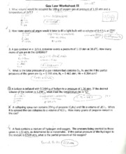 Wksheet Gas Laws