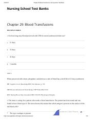 Chapter 29_ Blood Transfusions _ Nursing School Test Banks