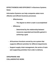 EFFECTIVENESS AND EFFICIENCY in Business Systems Notes