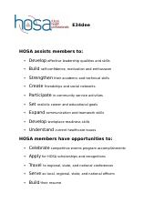 HOSA Benefits and Opportunities