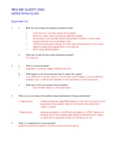 Review Questions- Nerve Physiology- EXP 2