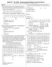Problem Set 37 Solution on Elementary Statistics - Math 373 Hw 37
