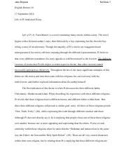 Samples Of An Argumentative Essay  Pages Lifeofpiessay  Best Custom Essay Service also Great Mba Essays Contemporary Writers Final Paperdocx  Contemporary Writers Project  A Personal Narrative Essay