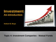 Topic 4- Investment companies and portfolio evaluation