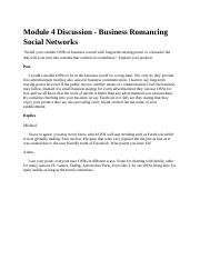 Module 4 Discussion - Business Romancing Social Networks.docx