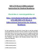 EDU 673 Week 4 Differentiated Instruction for Student Readiness.doc