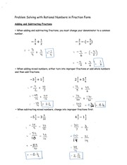 Problem Solving with Rational Numbers in Fraction Form