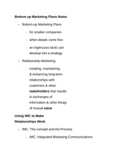 Bottom up Marketing Plans Notes