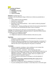 Psych - Learning & Memory Lecture Notes