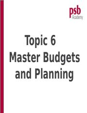 Topic 6 - Budgeting