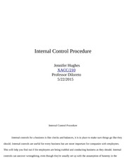 Internal Control Procedure