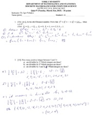 MATH 1019 Quiz 7 Winter 2015