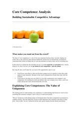 Lecture 8 - Competitive Advantage Analyses