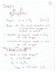 PHYS 1118 Fall 2010 Torque Lecture Notes