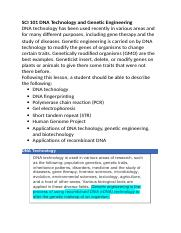 SCI 101 DNA Technology and Genetic Engineering.docx