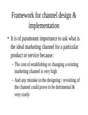 2.Framework for channel design & imlementation
