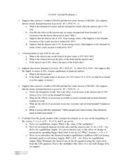 Worksheet 2 - Financial Mkt, IS-LM, Monetary-Fiscal Policy