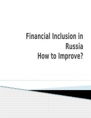 How to inmprove financial inclusion